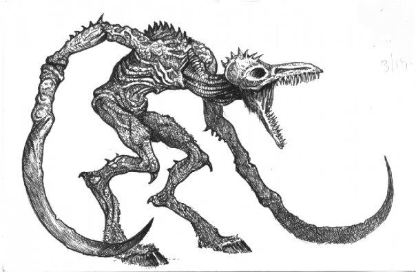 Spooky bird with scythe arms? Check.